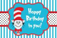 Cat In The Hat Greeting Card Template Vector Art & Graphics regarding Dr Seuss Birthday Card Template