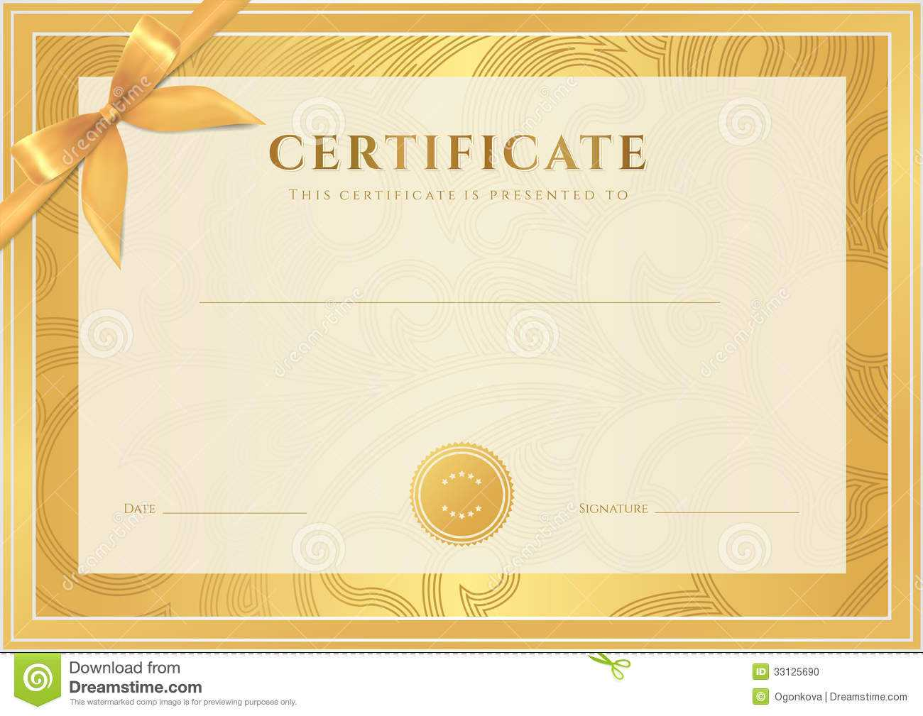 Certificate, Diploma Template. Gold Award Pattern Stock Intended For Scroll Certificate Templates