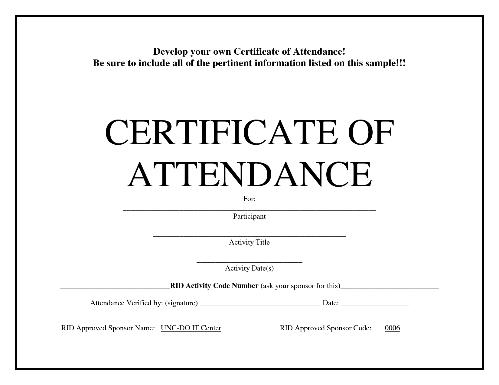 Certificate Of Attendance Template Free Download - Zohre In Attendance Certificate Template Word