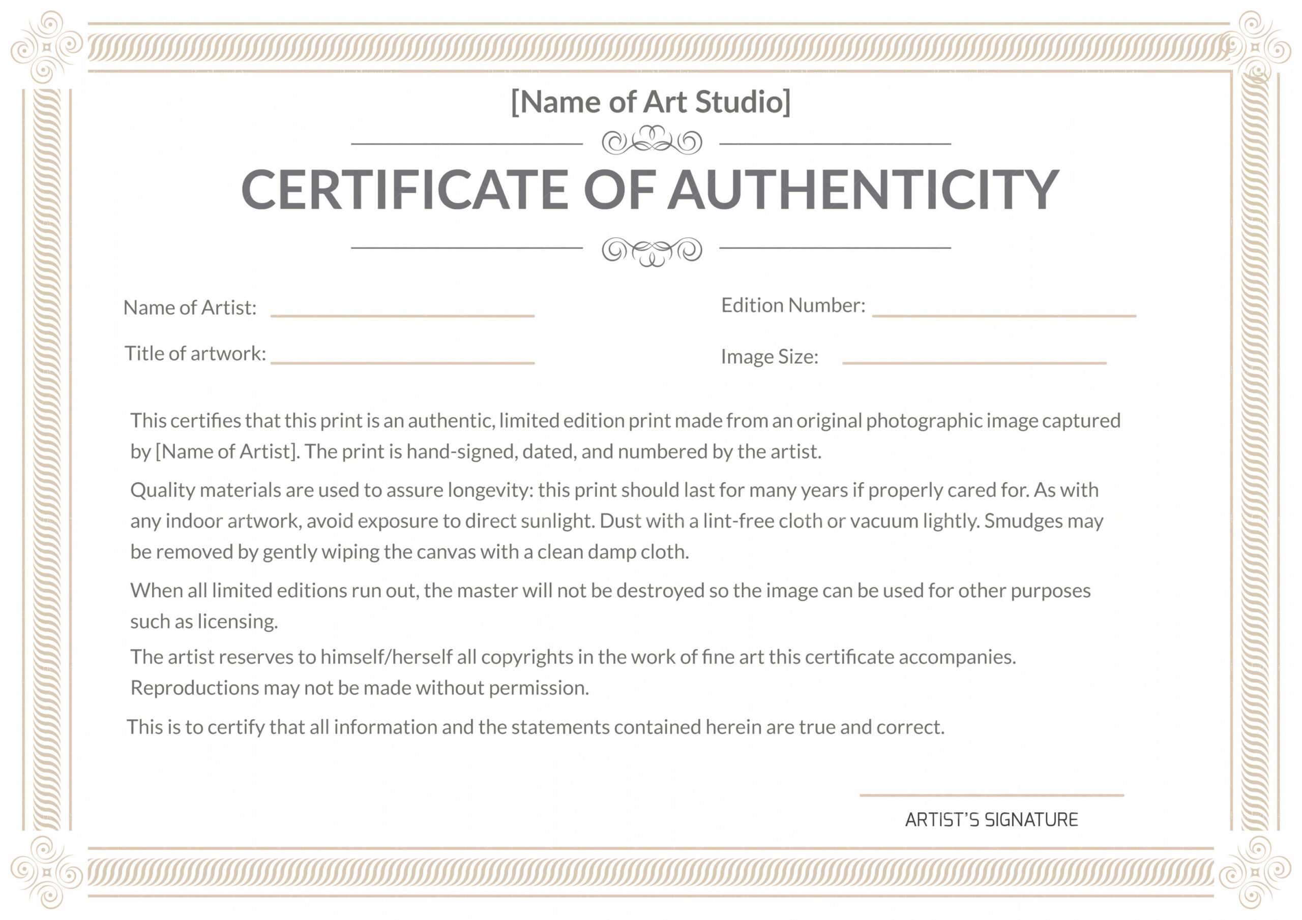 Certificate Of Authenticity Art Template – Zohre Throughout Certificate Of Authenticity Template