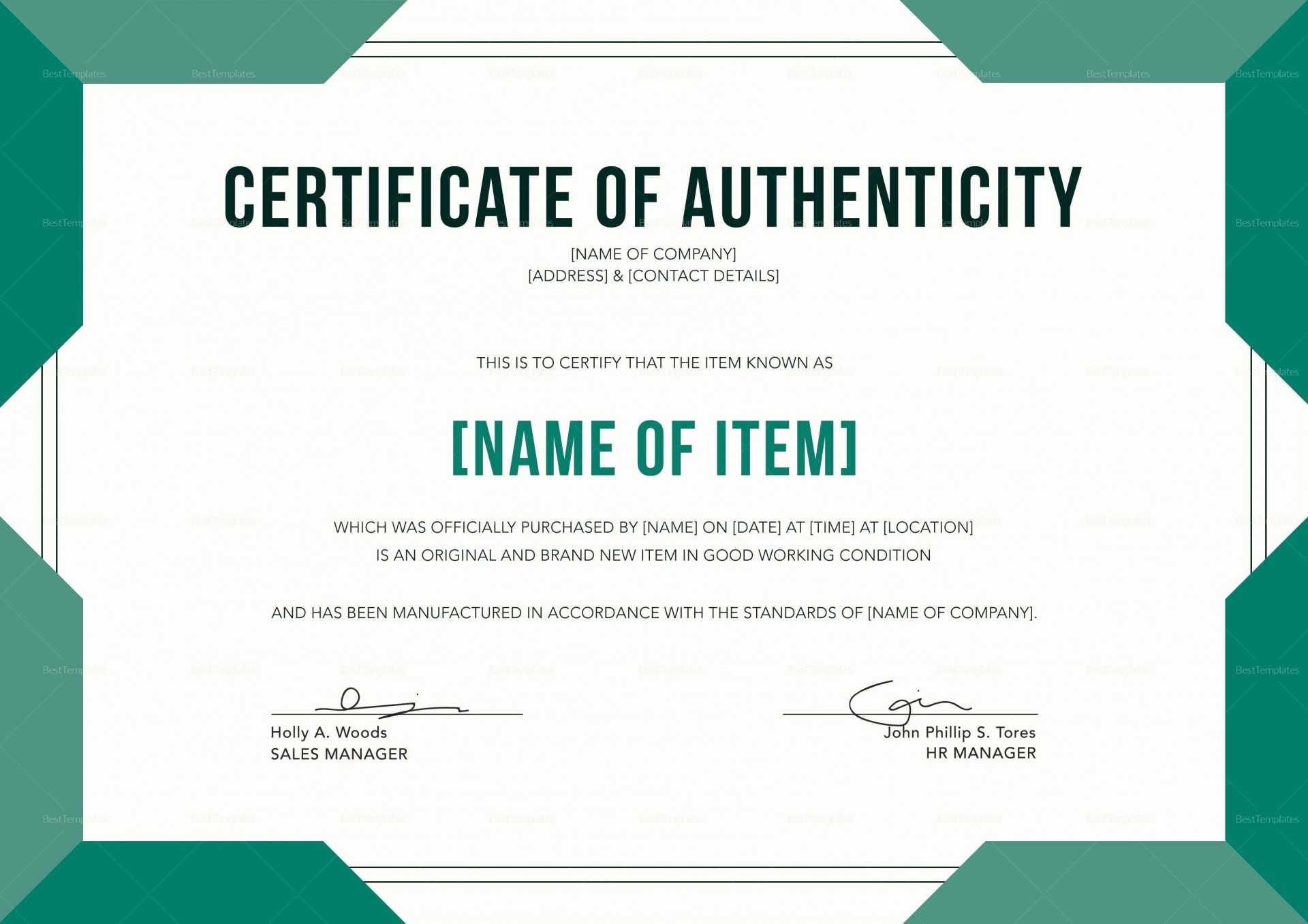 Certificate Of Authenticity Template Psd Word Artist Free For Certificate Of Authenticity Template