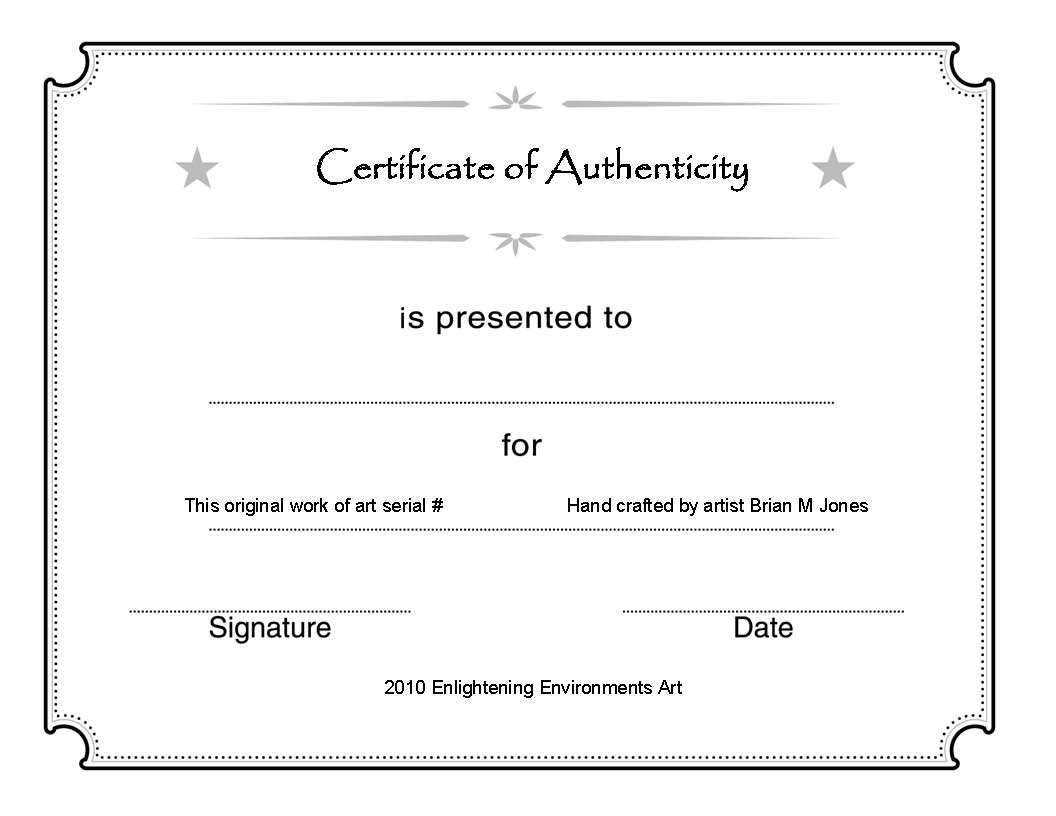 Certificate Of Authenticity Template Psd Word Artist Free Pertaining To Photography Certificate Of Authenticity Template