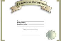 Certificate Of Authenticity Template | Templates At for Certificate Of Authenticity Template