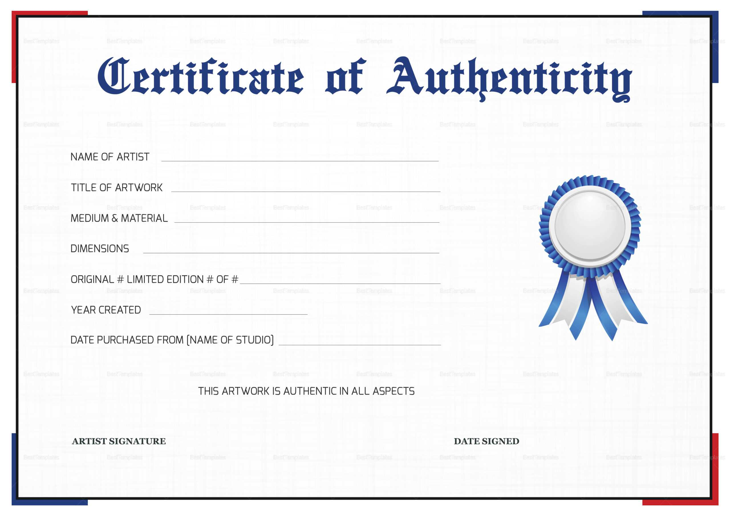 Certificate Of Authenticity Templates – Zohre Within Photography Certificate Of Authenticity Template