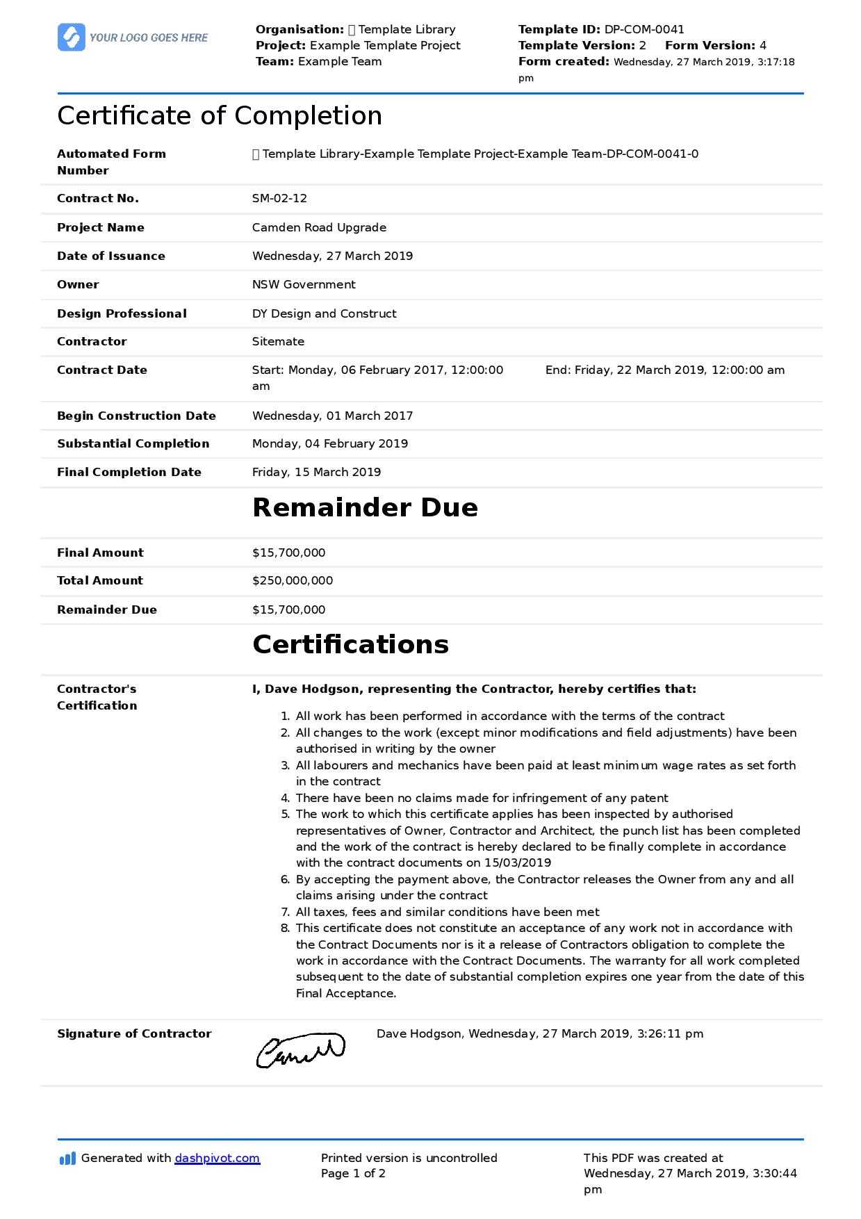 Certificate Of Completion For Construction (Free Template + For Practical Completion Certificate Template Uk