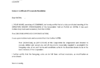 Certificate Of Corporate Resolution | Templates At in Corporate Secretary Certificate Template