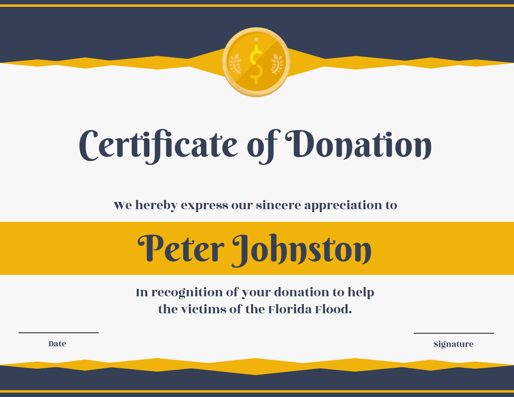 Certificate Of Donation Template In Donation Certificate Template