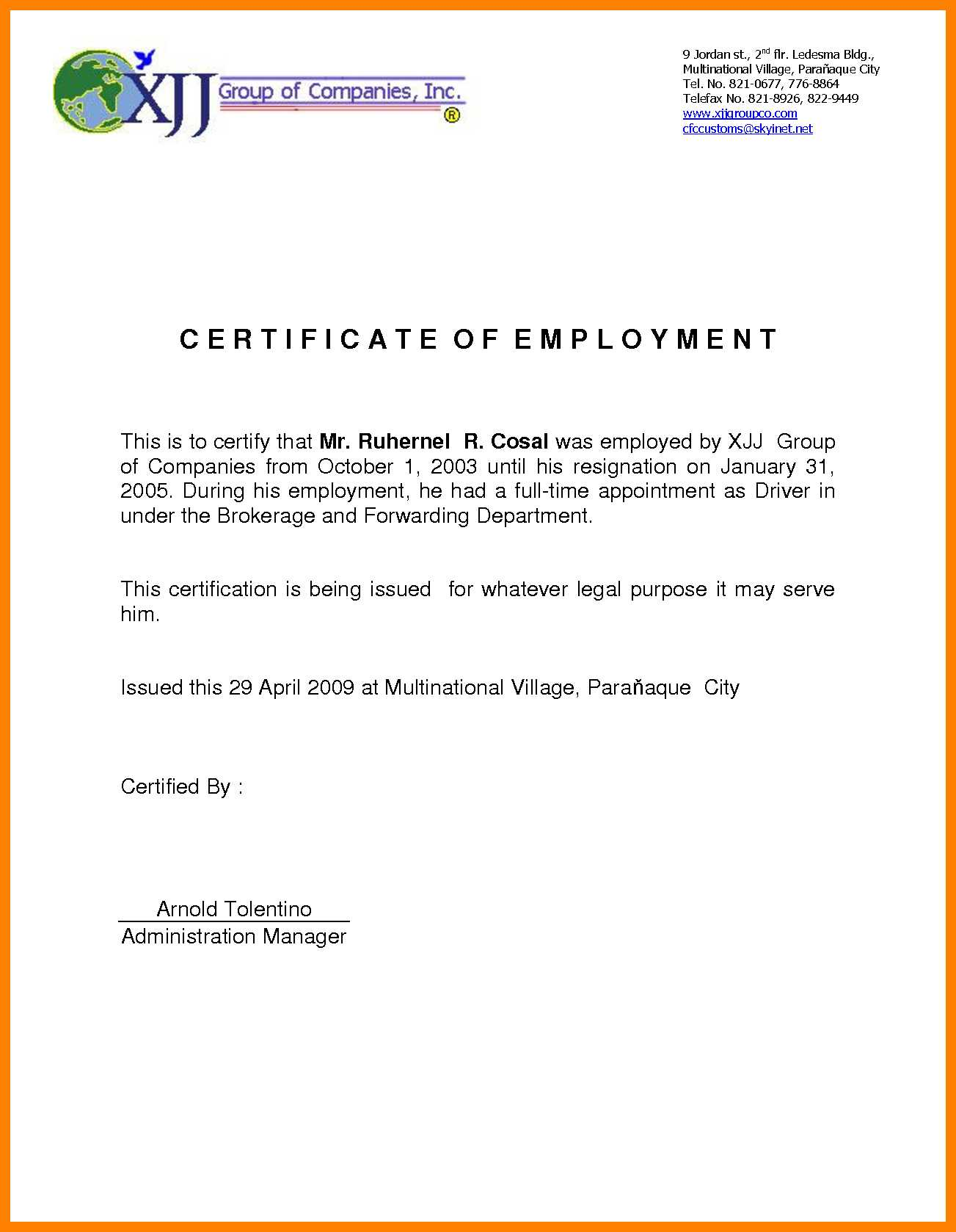 Certificate Of Employee Sample - Mahre.horizonconsulting.co With Regard To Sample Certificate Employment Template