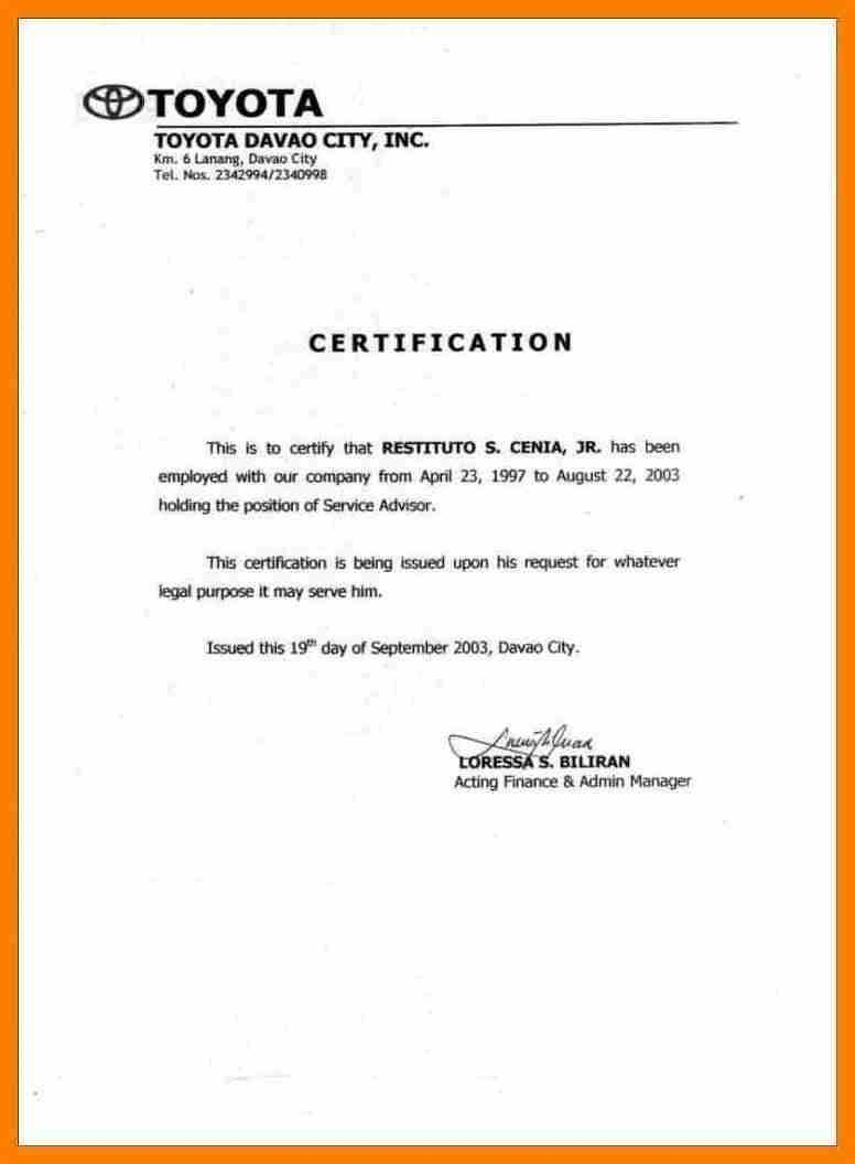 Certificate Of Employment Salary - Zohre.horizonconsulting.co For Template Of Certificate Of Employment