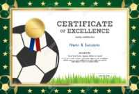 Certificate Of Excellence Template In Sport Theme For Football.. for Football Certificate Template