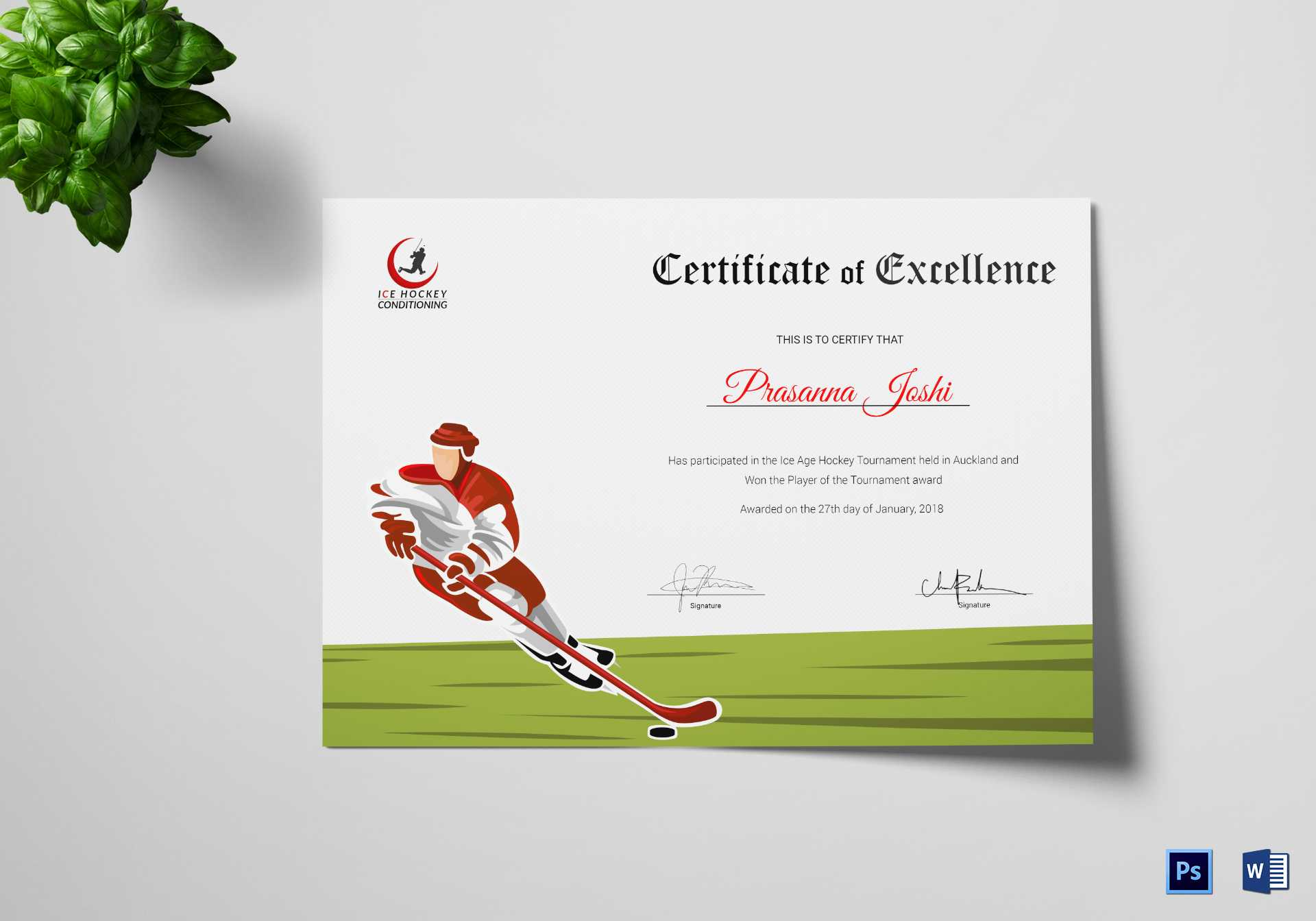 Certificate Of Hockey Performance Template In Hockey Certificate Templates