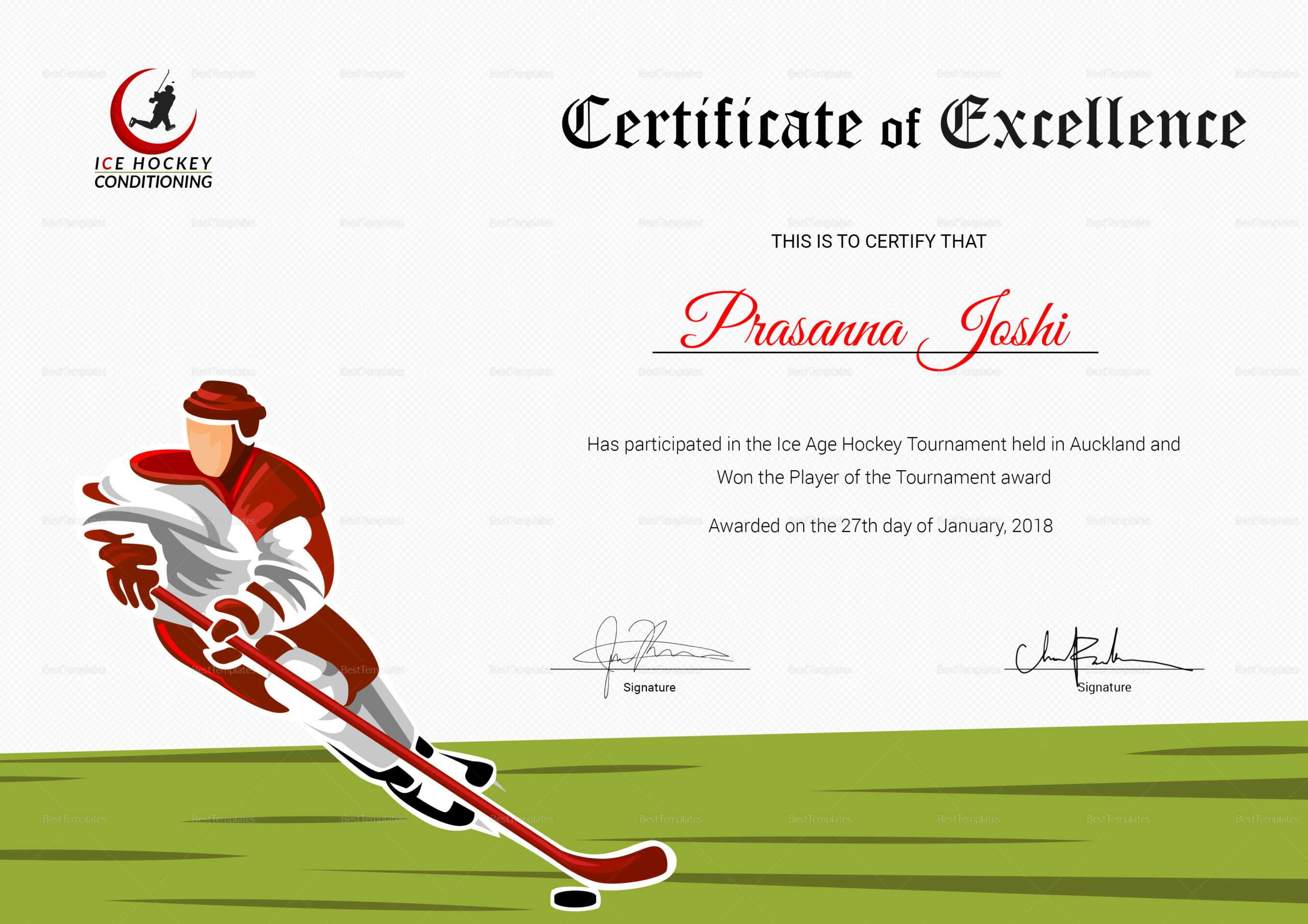 Certificate Of Hockey Performance Template Throughout Hockey Certificate Templates