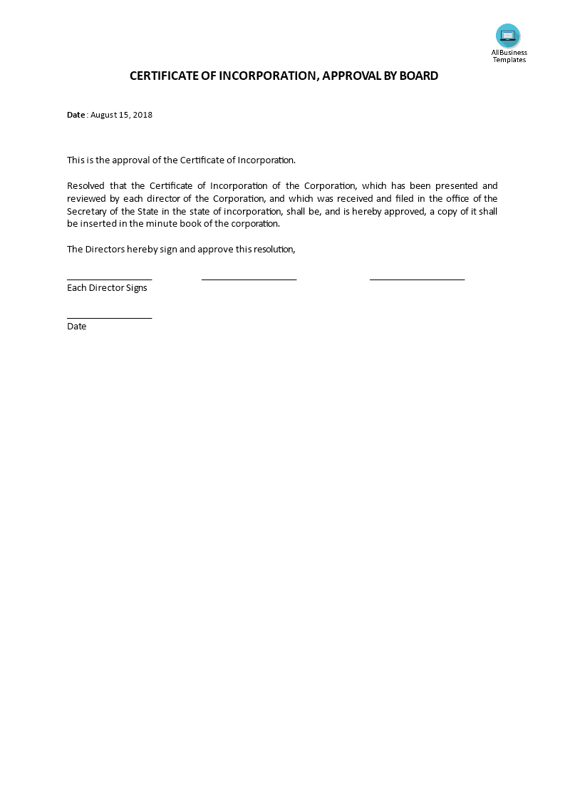 Certificate Of Incorporation, Board Acceptance | Templates At Intended For Certificate Of Acceptance Template