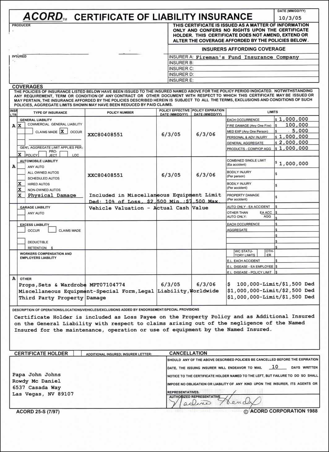 Certificate Of Liability Insurance Form 2019 Acord Acord Regarding Certificate Of Insurance Template