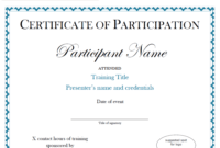 Certificate Of Participation Sample Free Download within Certificate Of Participation In Workshop Template