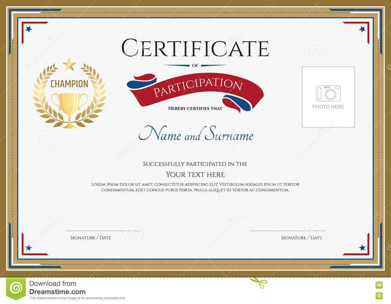 Certificate Of Participation Template In Sport Theme Stock In Certification Of Participation Free Template