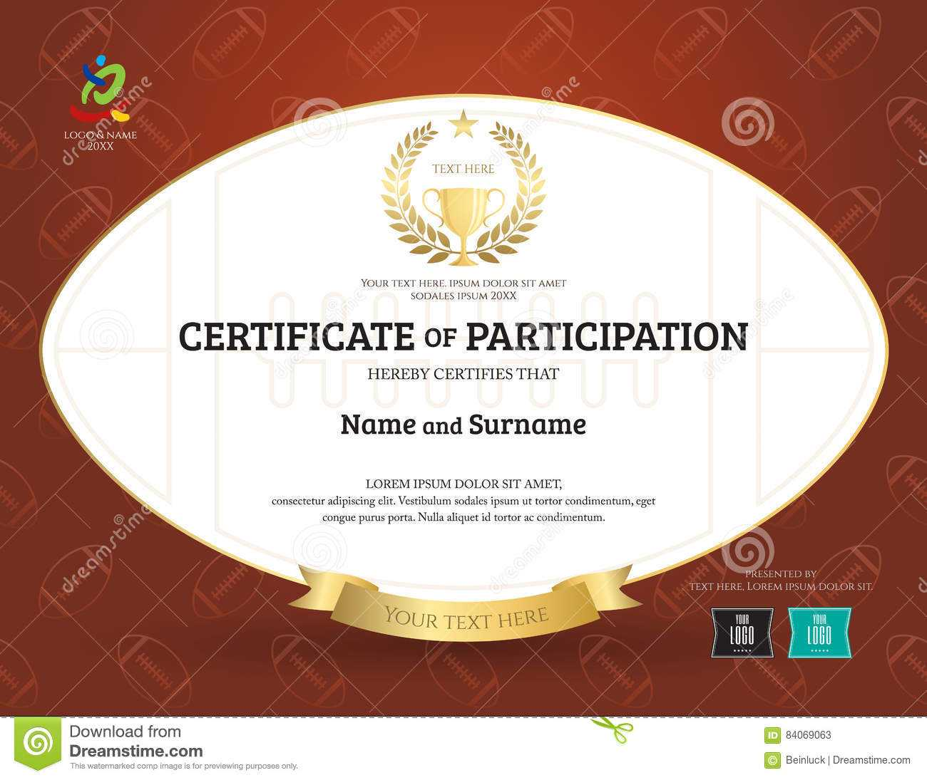 Certificate Of Participation Template In Sport Theme With Inside Rugby League Certificate Templates