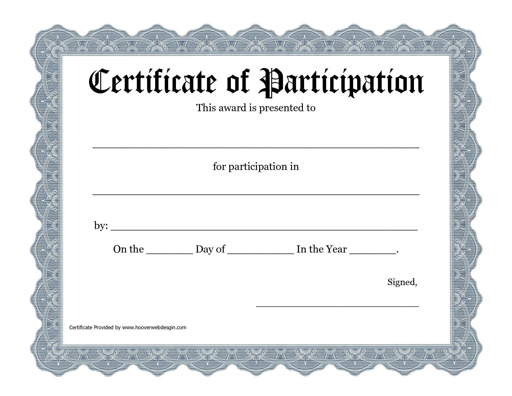 Certificate Of Participation Template Pdf In Certificate Of Participation Template Pdf