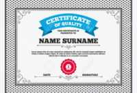 Certificate Of Quality. First Place Award Sign Icon. Prize For.. with First Place Award Certificate Template