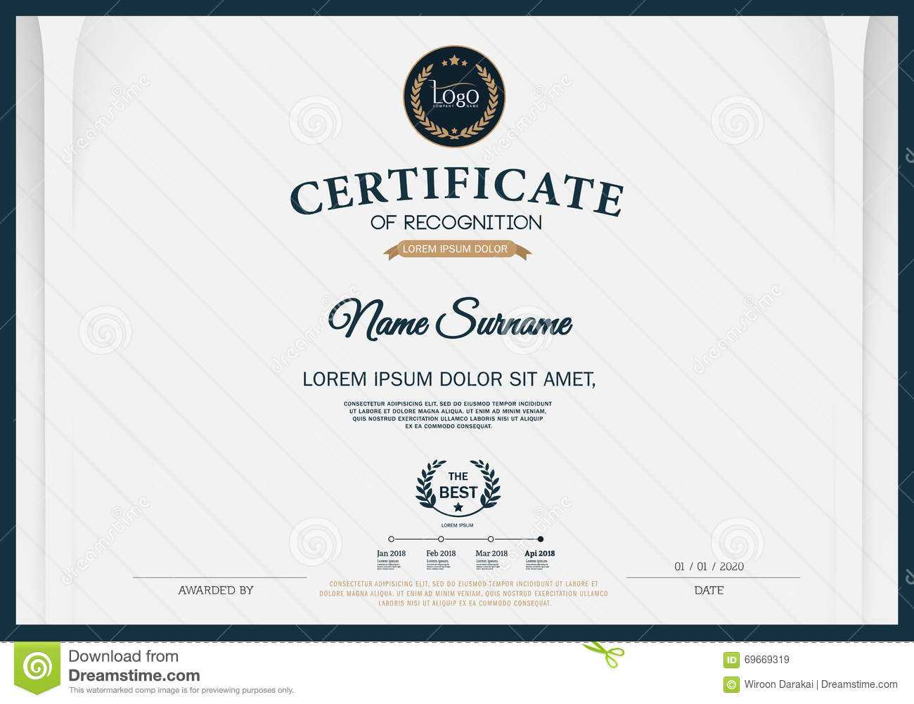 Certificate Of Recognition Frame Design Template Layout With Certificate Template Size