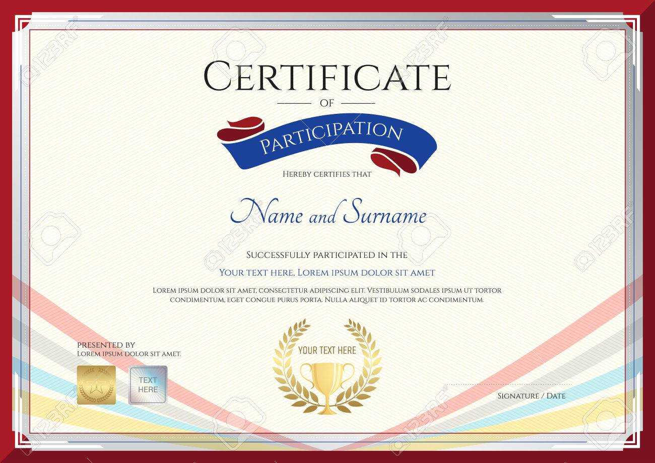 Certificate Template For Achievement, Appreciation Or Participation.. For Templates For Certificates Of Participation