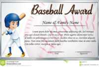 Certificate Template For Baseball Award With Baseball Player within Softball Certificate Templates