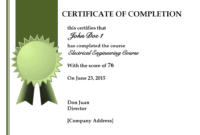 Certificate Template For Completion Of Course | Free Resume throughout Free Certificate Of Completion Template Word