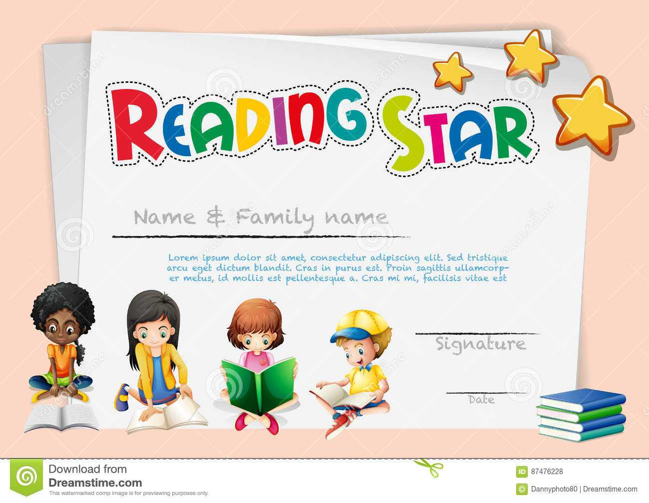 Certificate Template For Reading Star Stock Vector Within Star Award Certificate Template