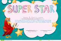 Certificate Template For Super Star Stock Vector regarding Star Certificate Templates Free