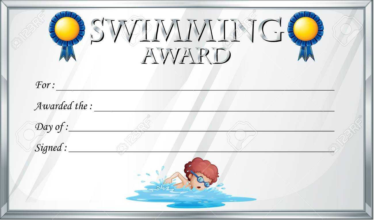 Certificate Template For Swimming Award Illustration Regarding Free Swimming Certificate Templates