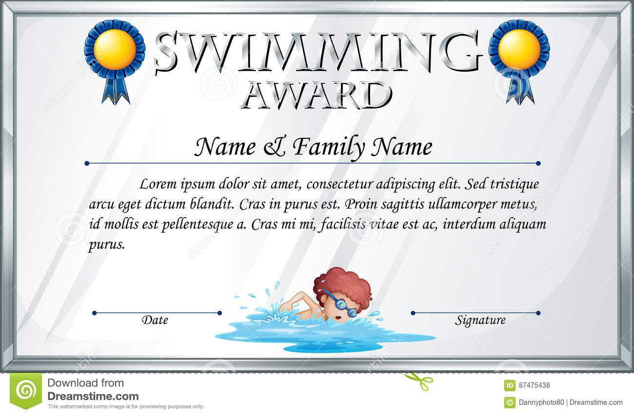Certificate Template For Swimming Award Stock Vector With Regard To Swimming Award Certificate Template