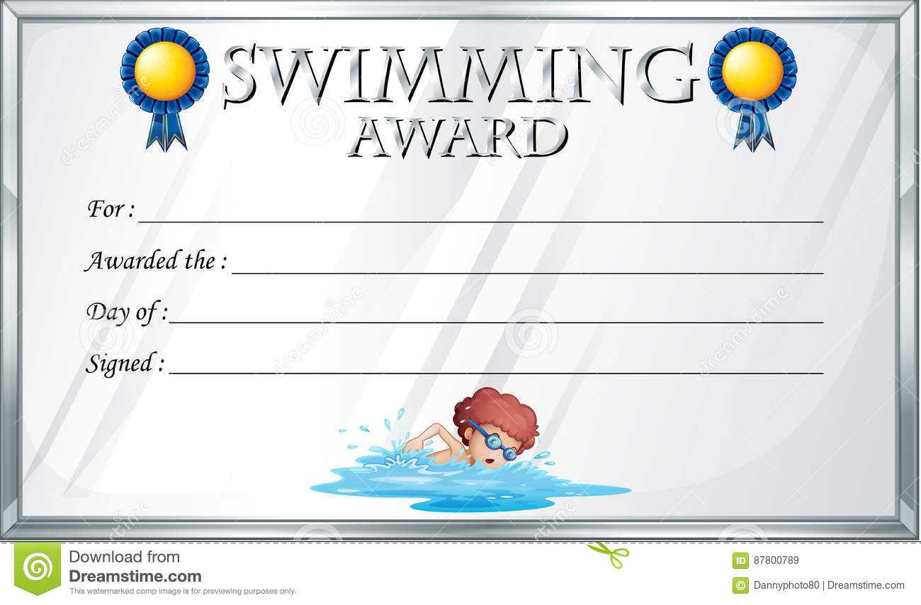 Certificate Template For Swimming Award Stock Vector With Swimming Award Certificate Template