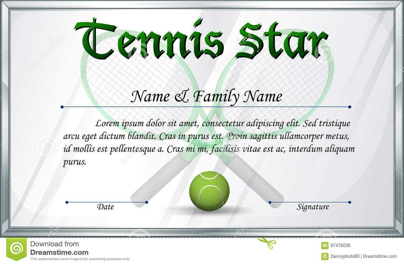 Certificate Template For Tennis Star Stock Vector For Tennis Gift Certificate Template
