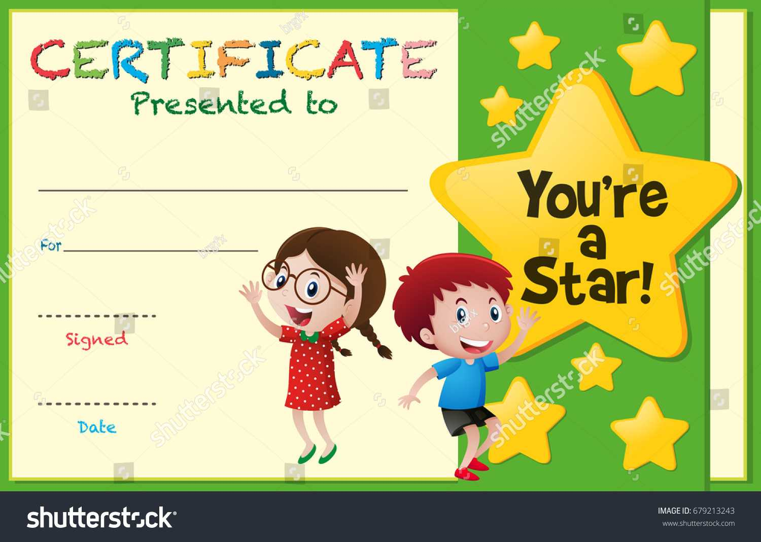 Certificate Template Kids Stars Illustration Stock Vector With Regard To Free Kids Certificate Templates