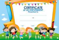 Certificate Template With Children And School Bus for Walking Certificate Templates