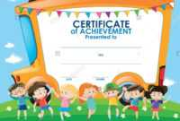 Certificate Template With Children And School Bus inside Children's Certificate Template
