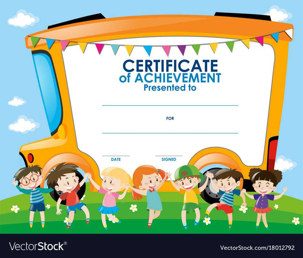 Certificate Template With Children And School Bus Pertaining To Free Kids Certificate Templates
