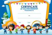 Certificate Template With Children In Winter inside Certificate Of Achievement Template For Kids