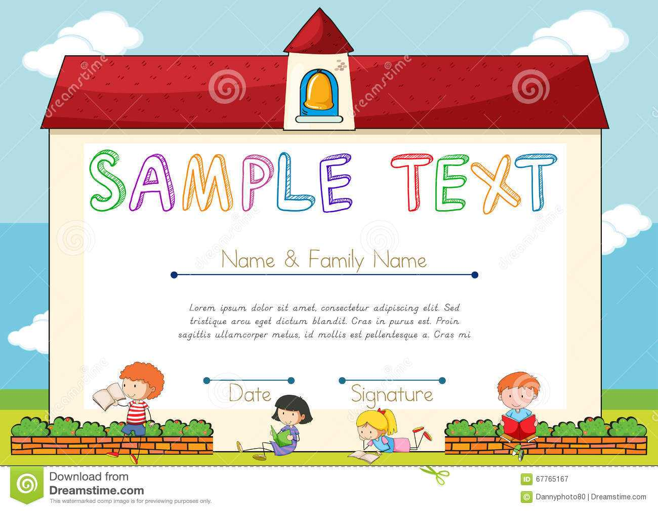 Certificate Template With Children On Background Stock Inside Small Certificate Template