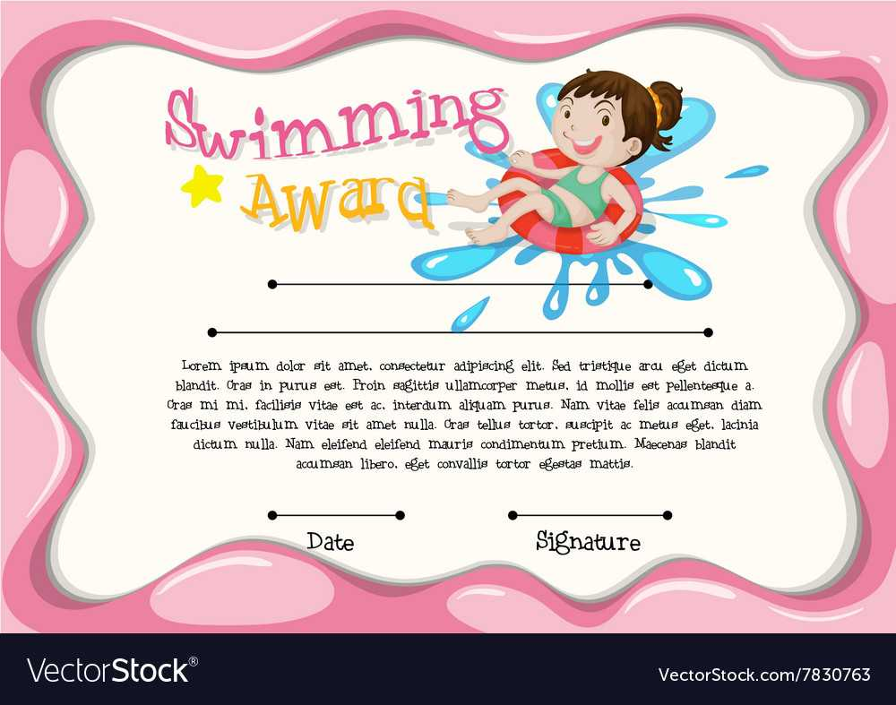 Certificate Template With Girl Swimming Throughout Free Swimming Certificate Templates