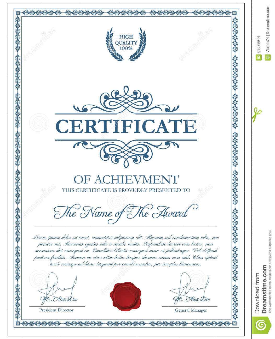 Certificate Template With Guilloche Elements. Stock Vector In Validation Certificate Template