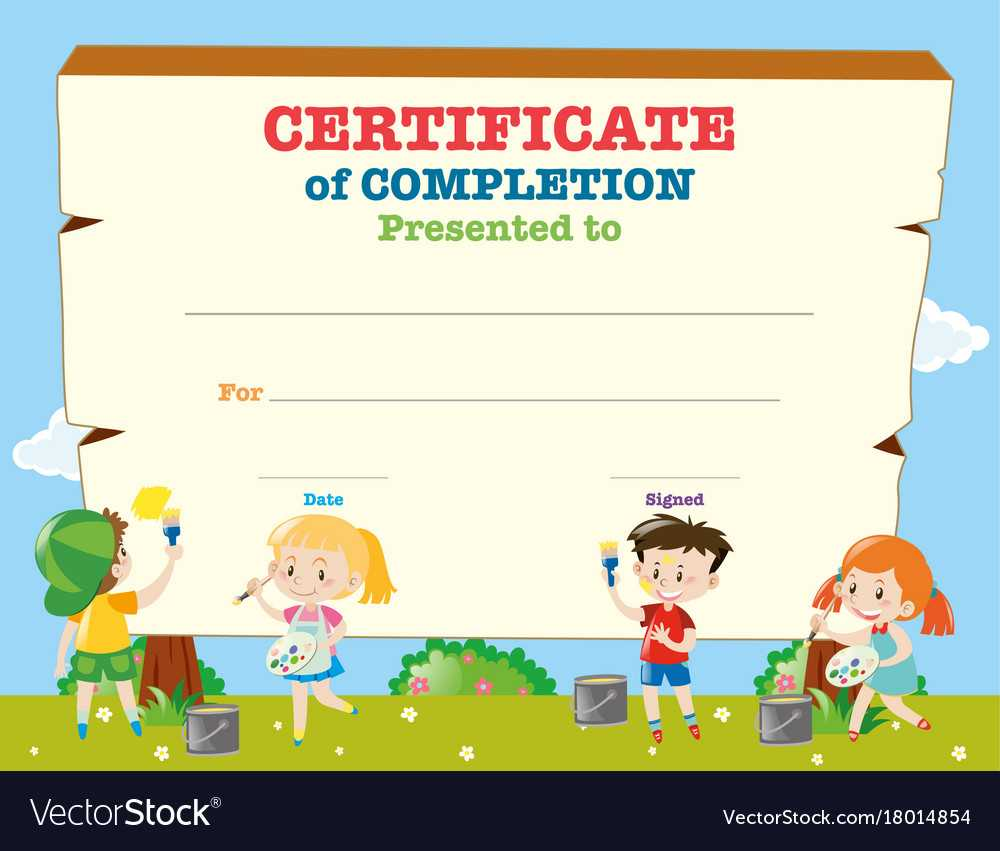 Certificate Template With Happy Children For Children's Certificate Template