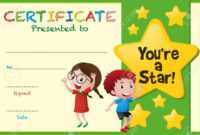 Certificate Template With Kids And Stars Illustration regarding Star Certificate Templates Free