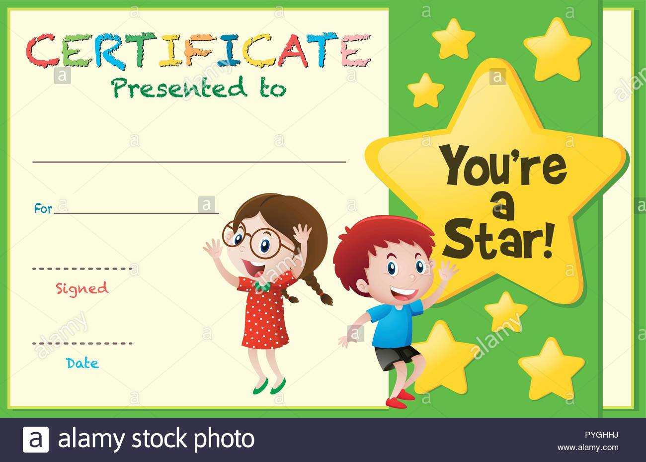 Certificate Template With Kids And Stars Illustration Stock With Regard To Star Award Certificate Template