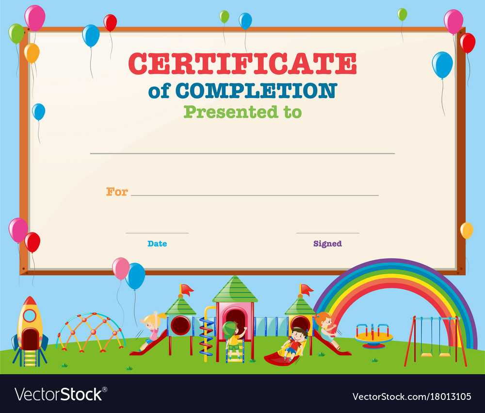 Certificate Template With Kids In Playground Intended For Free Kids Certificate Templates