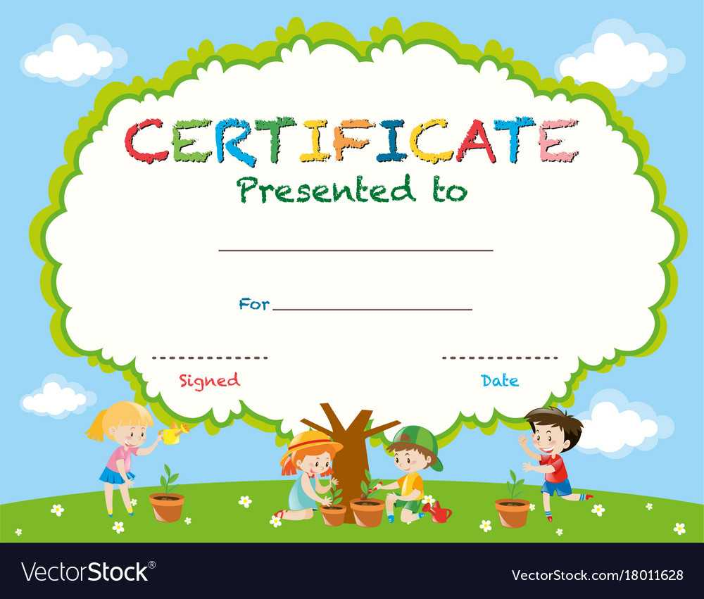 Certificate Template With Kids Planting Trees Throughout Free Kids Certificate Templates