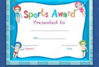 Certificate Template With Kids Swimming Stock Vector pertaining to Swimming Award Certificate Template