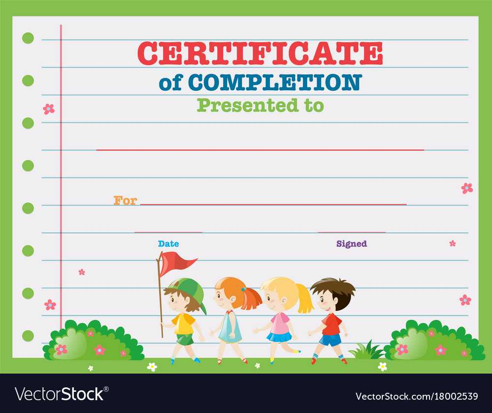 Certificate Template With Kids Walking In The Park Regarding Walking Certificate Templates