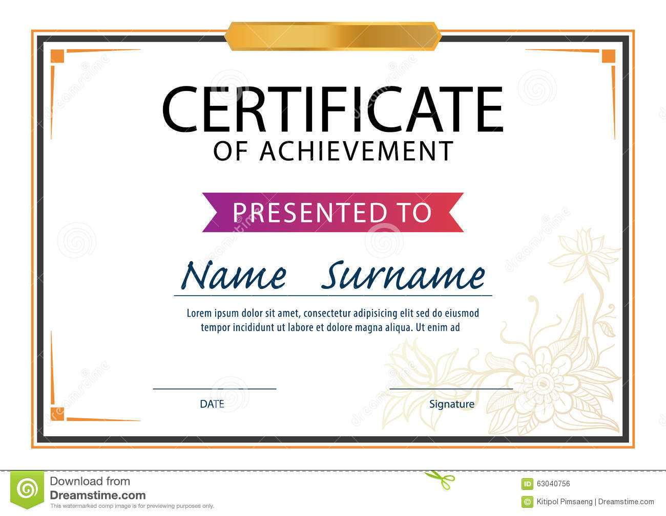 Certificate Template,diploma Layout,a4 Size Stock Vector Regarding Certificate Template Size