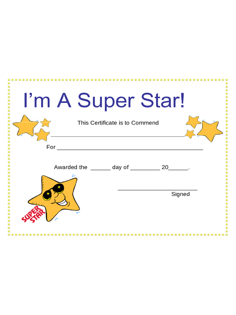 Certificates For Kids – 2 Free Templates In Pdf, Word, Excel Intended For Star Award Certificate Template
